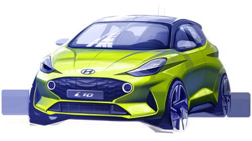 Hyundai pubblica i primi schizzi del design della nuova i10
