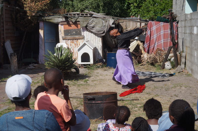 Wait...Linda with Thabisa Dinga at the Theatre in the Backyard - credit Leonie Seitz Cape Town Fringe 2016