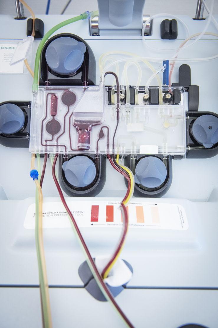 La leucaphérèse, un processus par lequel les globules blancs sont retirés d'un échantillon de sang et le reste du sang est ensuite renvoyé à la personne en question - Photo: Lies Willaert