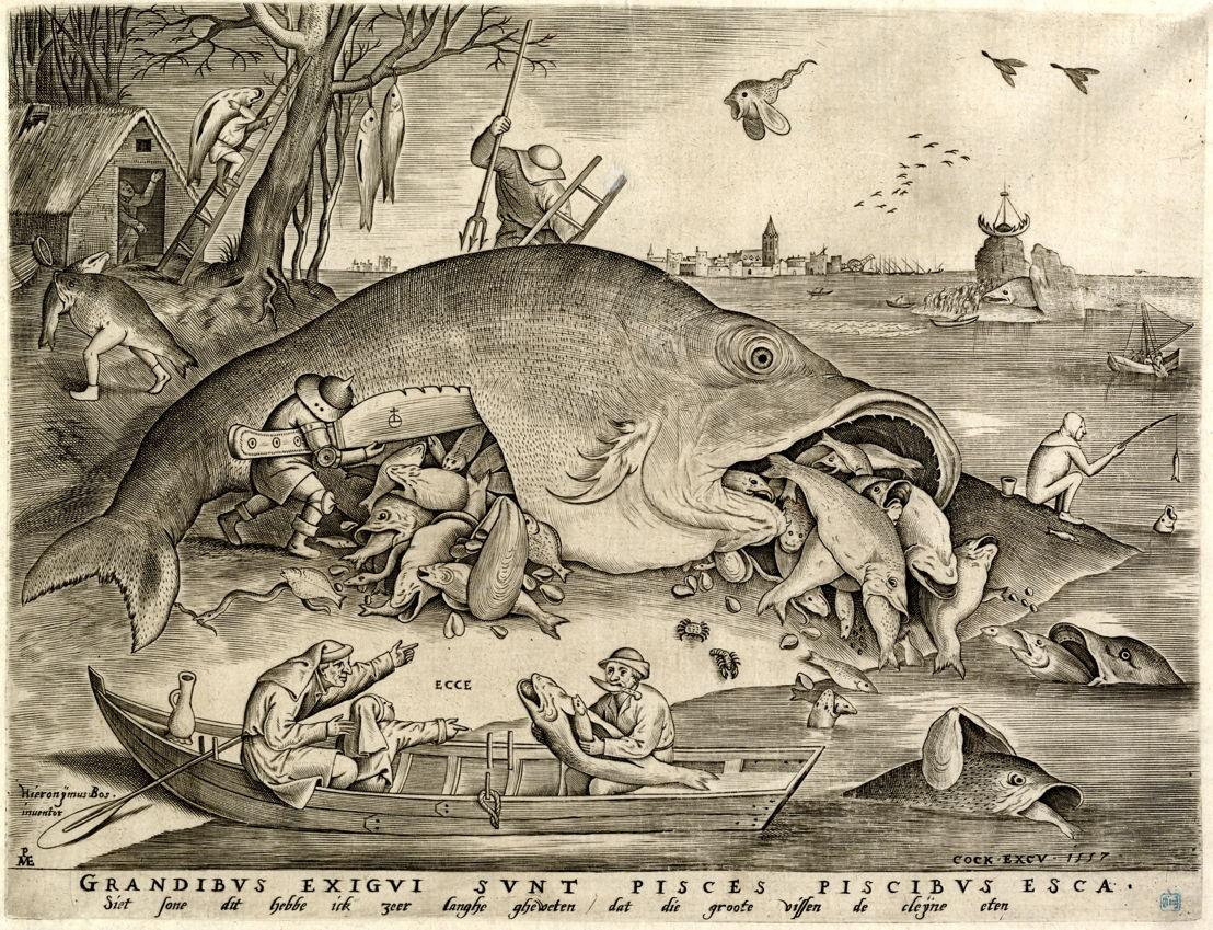 Pieter van der Heyden d'après Pieter Bruegel l'Ancien, Les gros poissons mangent les petits, gravure 22,9 x 29,6 cm, éditée par Hieronymus Cock, Anvers, 1557