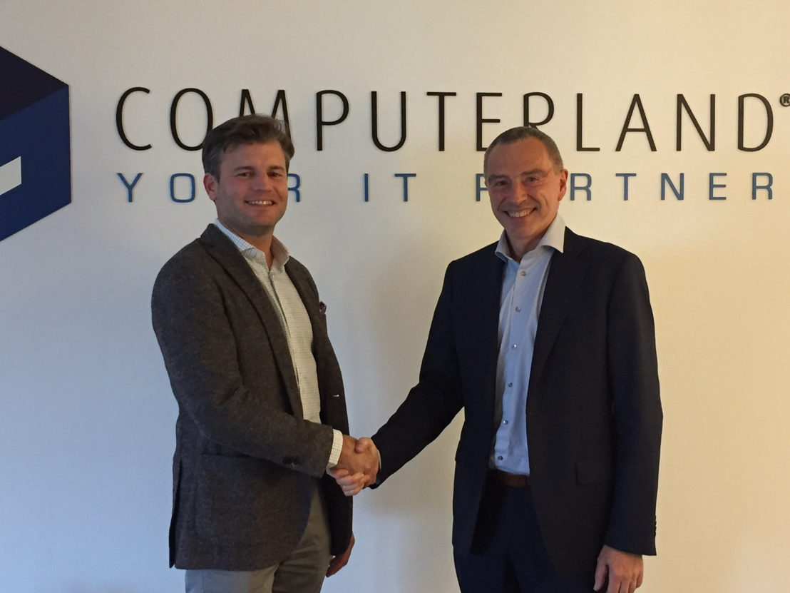 Quentin Poncelet, General manager van Computerland en Marc LAMBOTTE, CEO van Agoria