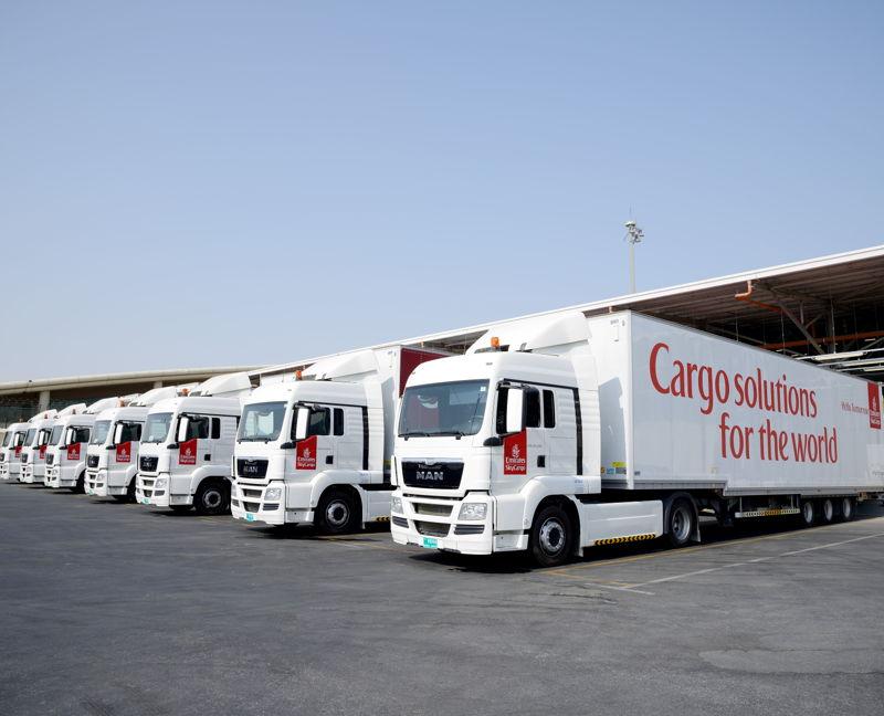 Emirates' trucks parked at SkyCargo DWC terminal.