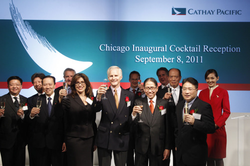 Cathay Pacific celebrates launch of daily non-stop flights to Chicago