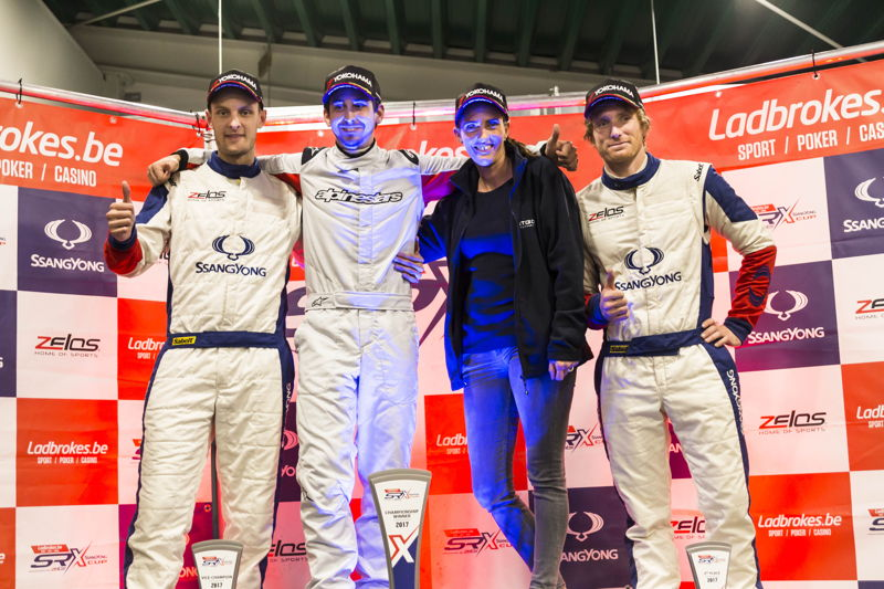Podium General ranking Ladbrokes SRX Cup 2017. From left to right : Arwac GDRX/Guillaume De Ridder (2d), Autodis/Loris Cencetti Jr & Raphaelle Poly (Autodis), Ladbrokes/Jerome Farinaux (3d)