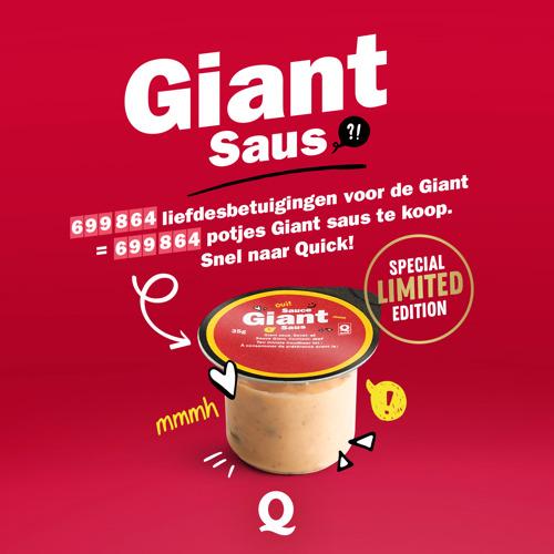 Uniek: Quick verkoopt voor het eerst losse potjes Giant-saus