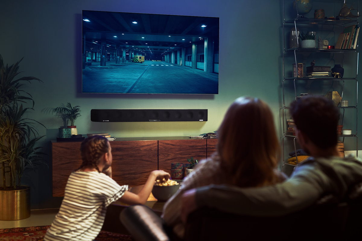 Sennheiser's AMBEO Soundbar is designed to create an immersive 3D sound experience with just one device and transforms the living room into your very own cinema.