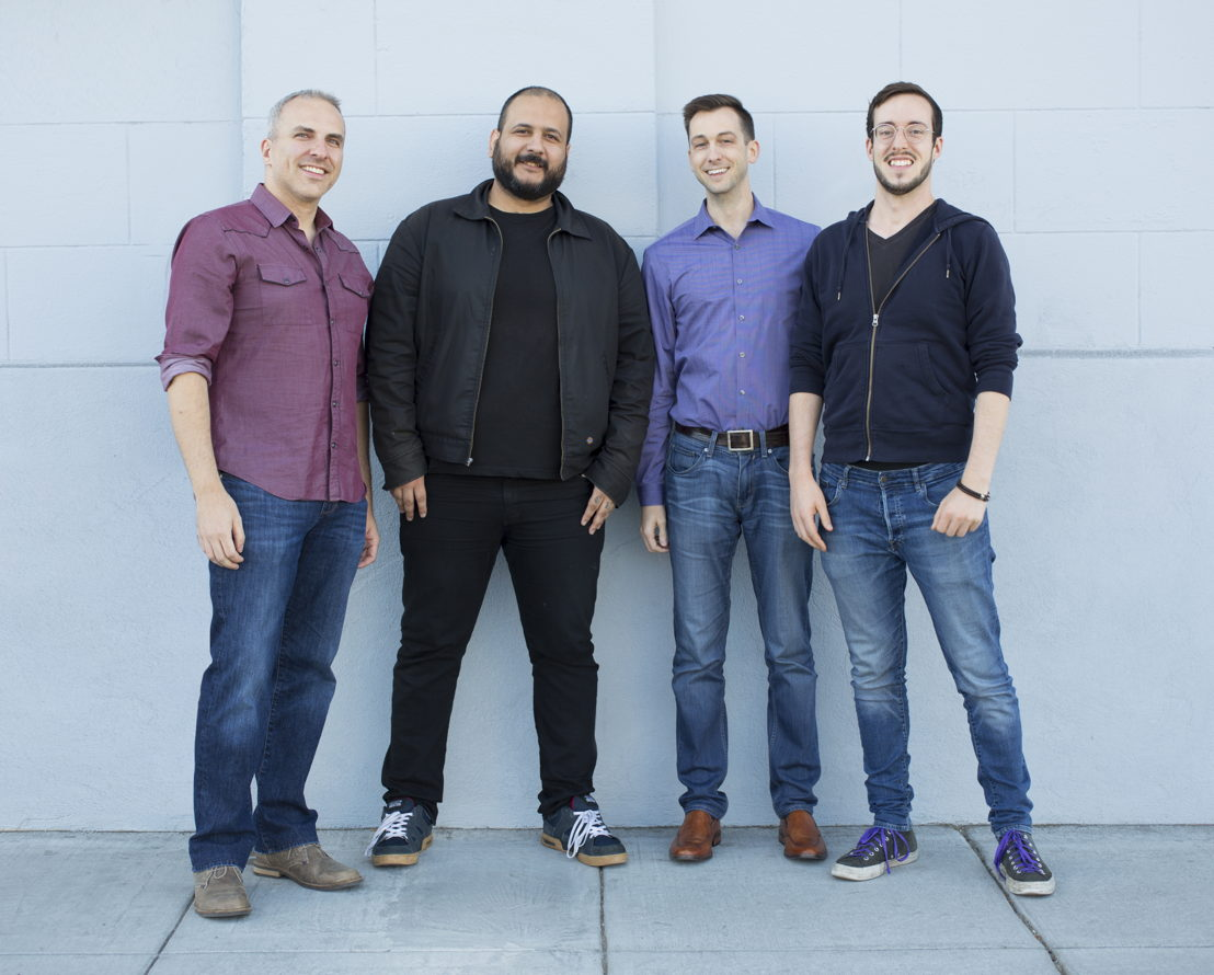 MeeWow Games team photo. Left to right: Ben Ahroni (CEO), Alex Madrigal (Visual Director), Joe Trdinich (CTO) and Zebulon Reynolds (Product Designer)