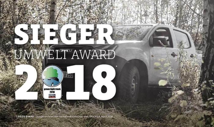 """Isuzu D-Max 1.9D bekroond met """"Green Light Truck (pick-up) Award 2018"""""""