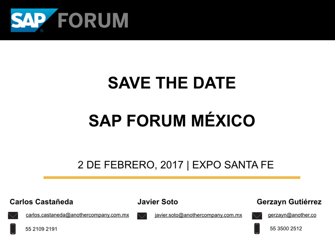 SAP FORUM | SAVE THE DATE