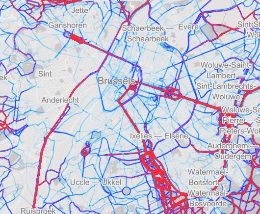 'heatmap' des courses à Bruxelles