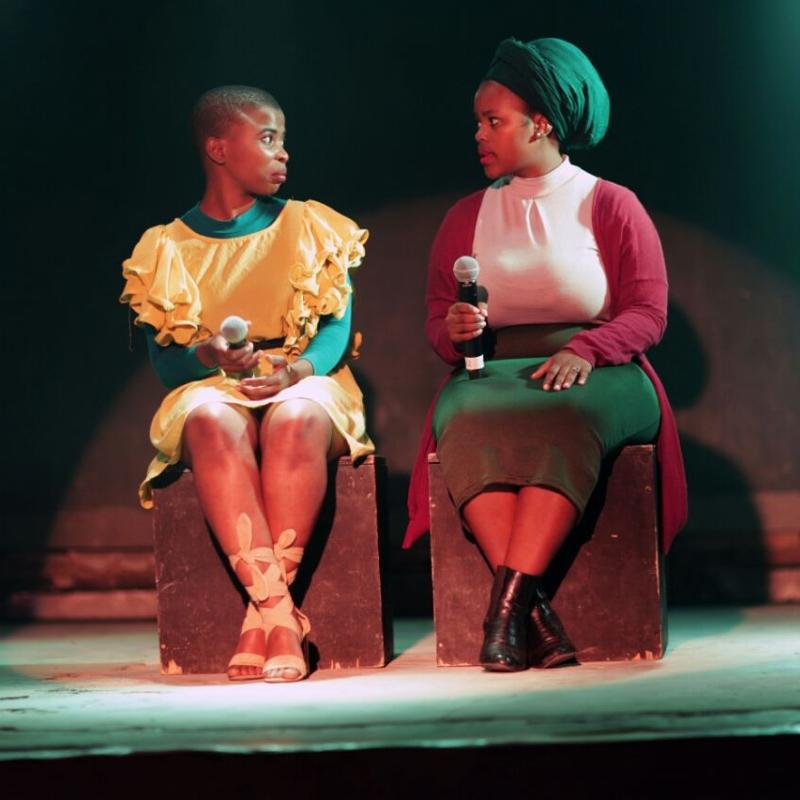 Tina Hashe and Somila Toyi in Iziqhamo Zobomi. Image by Xolani Tulumani