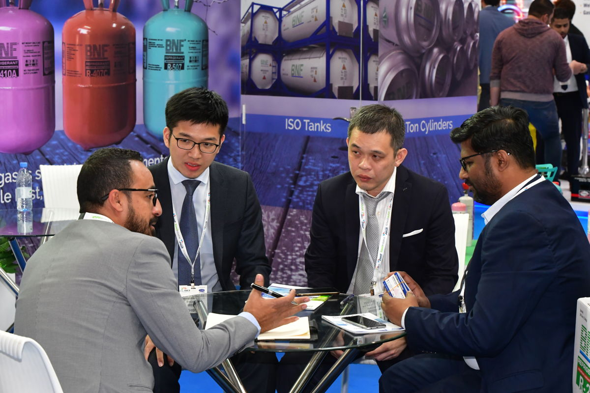 Business between country representatives at HVAC R Expo Saudi