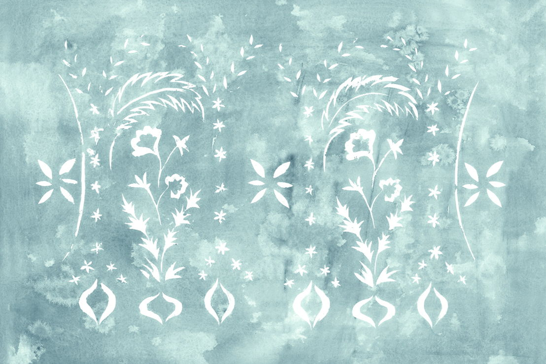 Floral Stencil Jade - Web