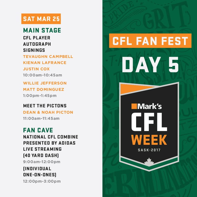 The #MarksCFLWeek FanFest schedule for Saturday March 25th