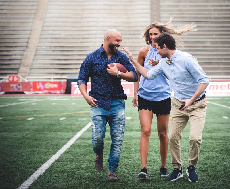 CFL.ca's Davis Sanchez, Brodie Lawson, and Max Rosenberg. Photo credit: CFL.ca/Johany Jutras