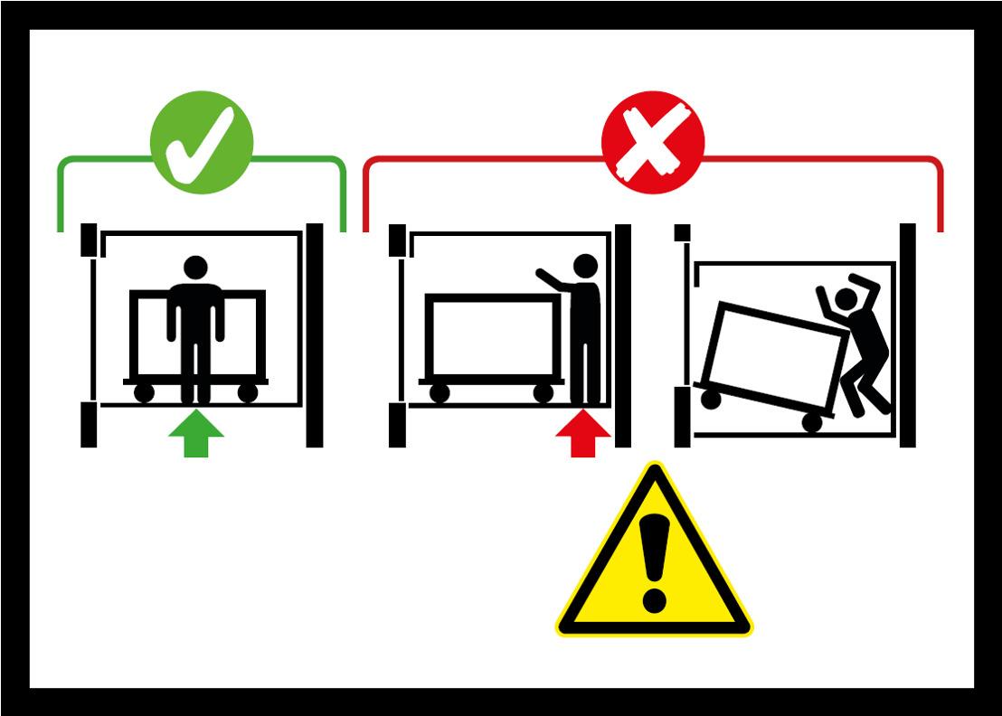 Liften zonder kooideuren krijgen waarschuwingsstickers tegen ongevallen