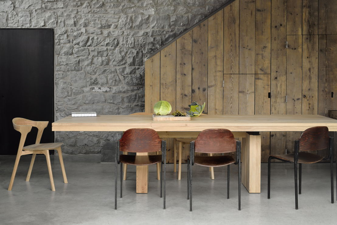 Ethnicraft Oak Bok dining chair and Oak Double extendable dining table