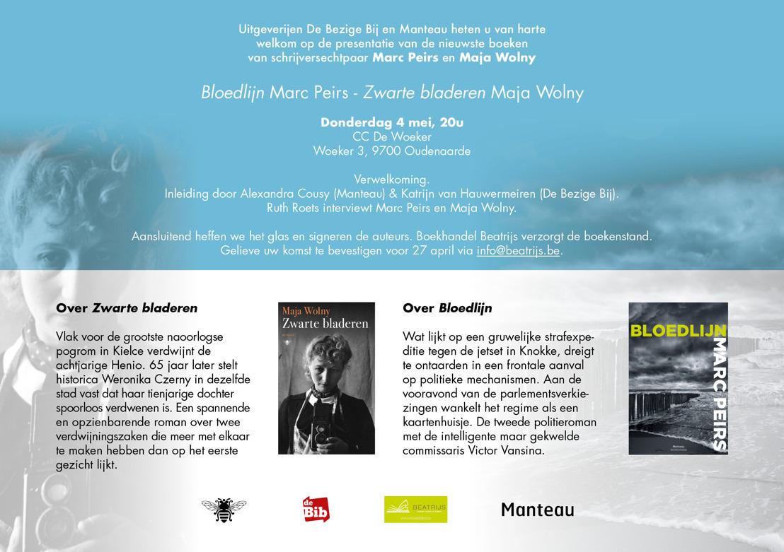Uitnodiging 4/5: Schrijversechtpaar Marc Peirs - Maja Wolny stelt nieuwste uitgaven voor