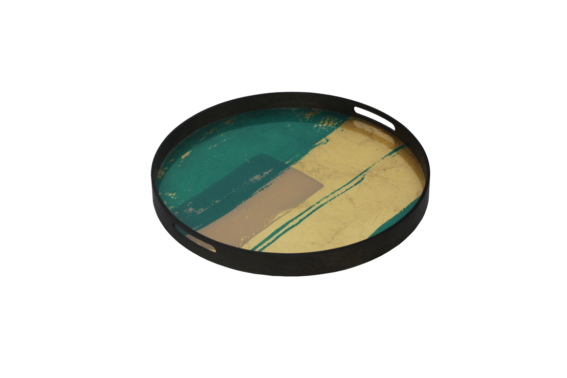 Notre Monde Turquoise Abstract glass tray