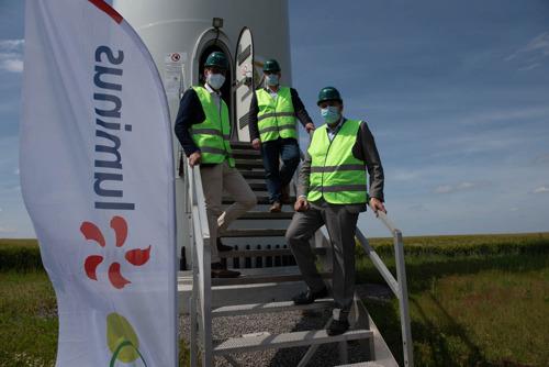 Visite des Ministres Henry et Collignon au parc éolien de Héron à l'occasion du Wind Day