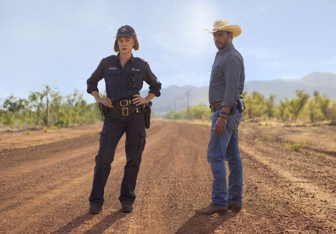 Judy Davis and Aaron Pedersen in Mystery Road. Photo: Jack Friels.