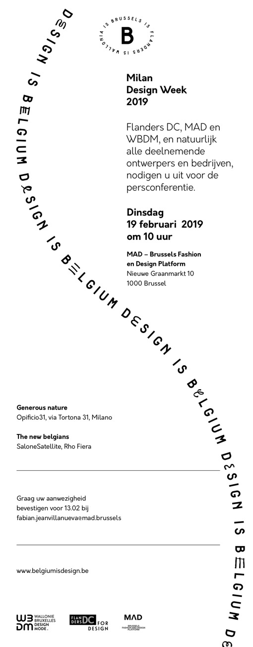UITNODIGING PERSCONFERENTIE Belgium is Design — Milan Design Week 2019