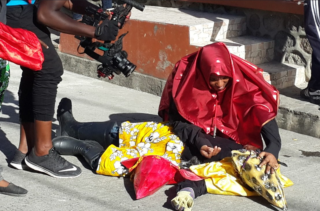 Behind the scenes: Filming in the village of Colihaut.
