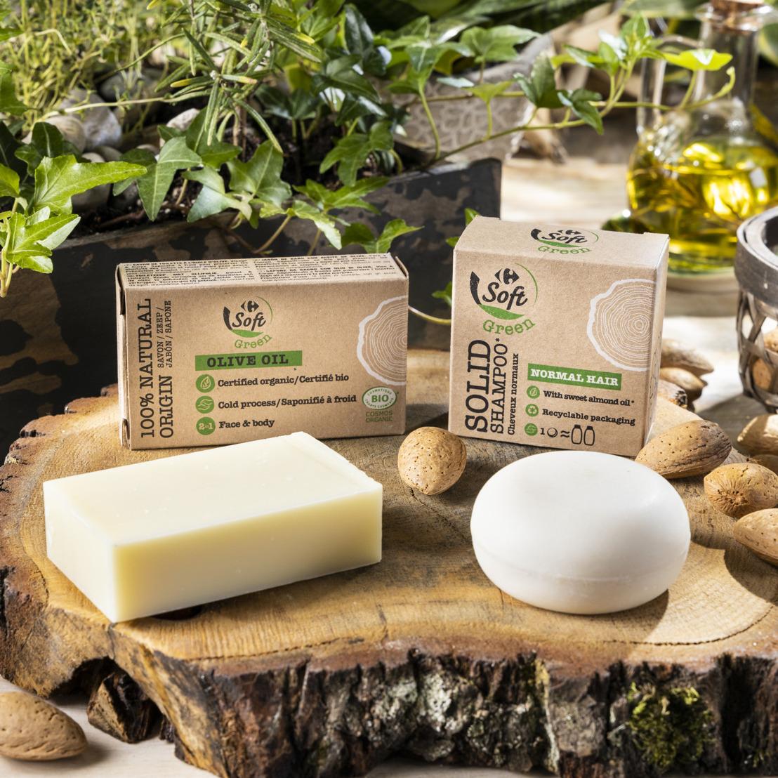 Carrefour is de eerste retailer die een vaste shampoo van eigen merk lanceert aan een scherpe prijs