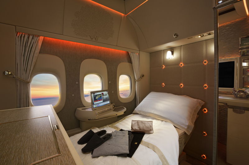 First Class cabin with fully enclosed private suites on Emirates' new Boeing 777-300ER