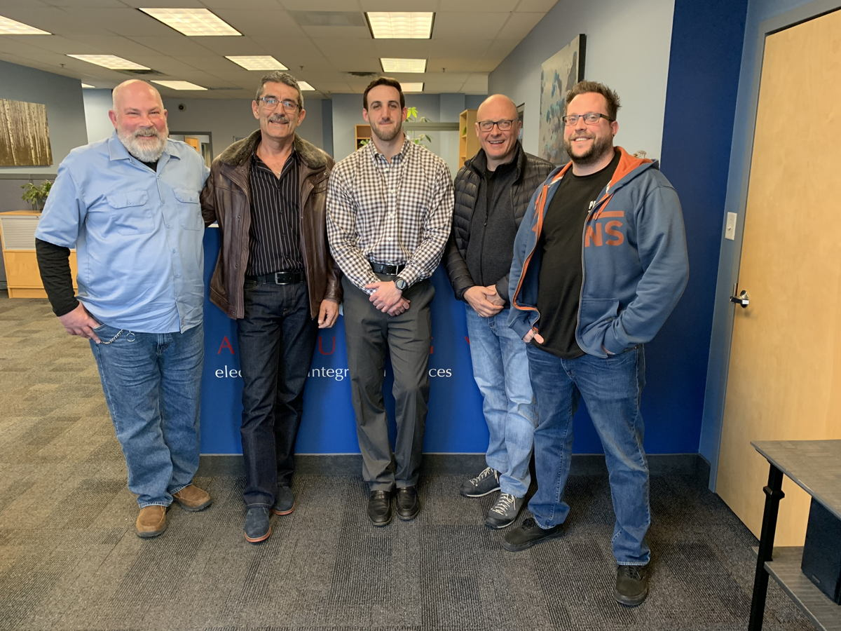 From left: Mr. John Graziano  (PanurgyOEM Service manager), Eugene Pope  (Erikson Audio Canada Service manager), Mark Palumbo  (PanurgyOEM Director of business development), Marco Mannucci (Powersoft Customer Care & Tech.Assistance Manager), Rick Woida (Powersoft US application engineer)