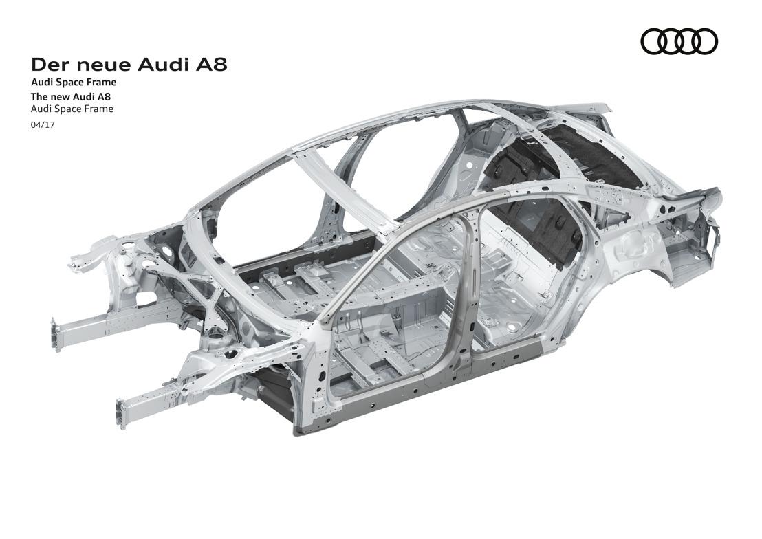 Un avant-goût de la nouvelle Audi A8 : un châssis Audi Space Frame avec une combinaison unique de matériaux