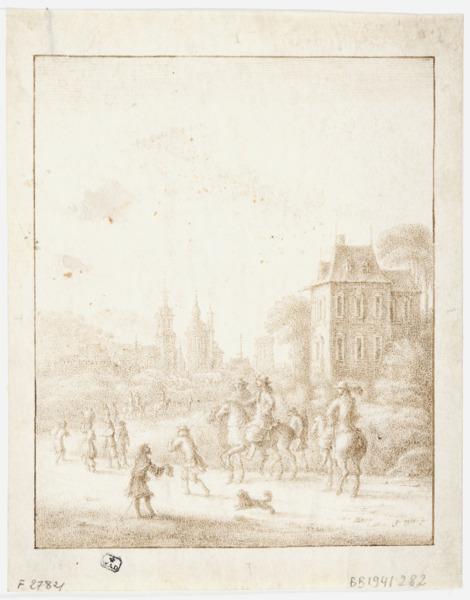 Vue du Kattenberghof à Anvers avec cavaliers à l'avant-plan par Gillis Neyts (ca. 1618 - 1687).