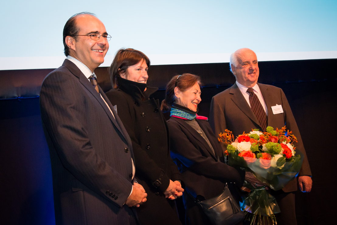 Brussels Airlines CEO Bernard Gustin, Minister van Mobiliteit Galant, Fanny Rodwell en Burggraaf Etienne Davignon