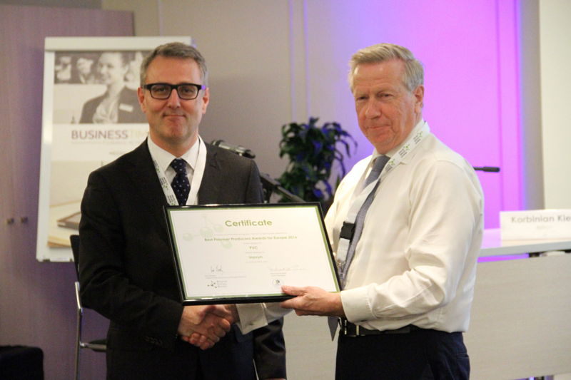 Winner in category PVC: Inovyn represented by Luc Castin. Award handed by Ron Marsh, Chairman Polymers for Europe Alliance.