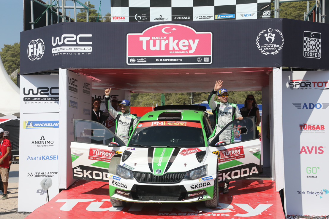 Rally Turkey: WRC 2 victory for ŠKODA's Kopecký ŠKODA wins WRC 2 Championship for Teams