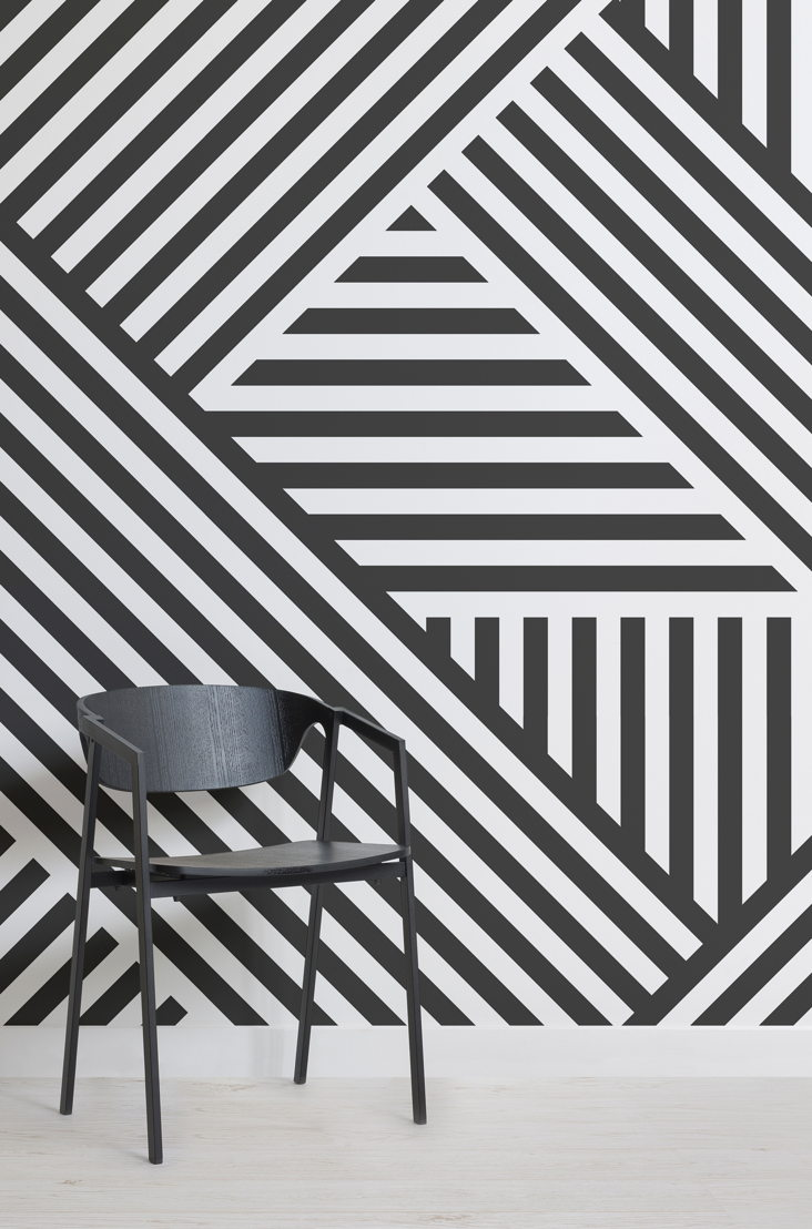 Divert Striped Geometric Mural - Lifestyle