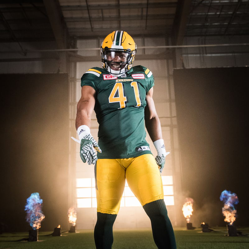 Odell Willis at the TSN/adidas content shoot. Photo credit: Johany Jutras/CFL
