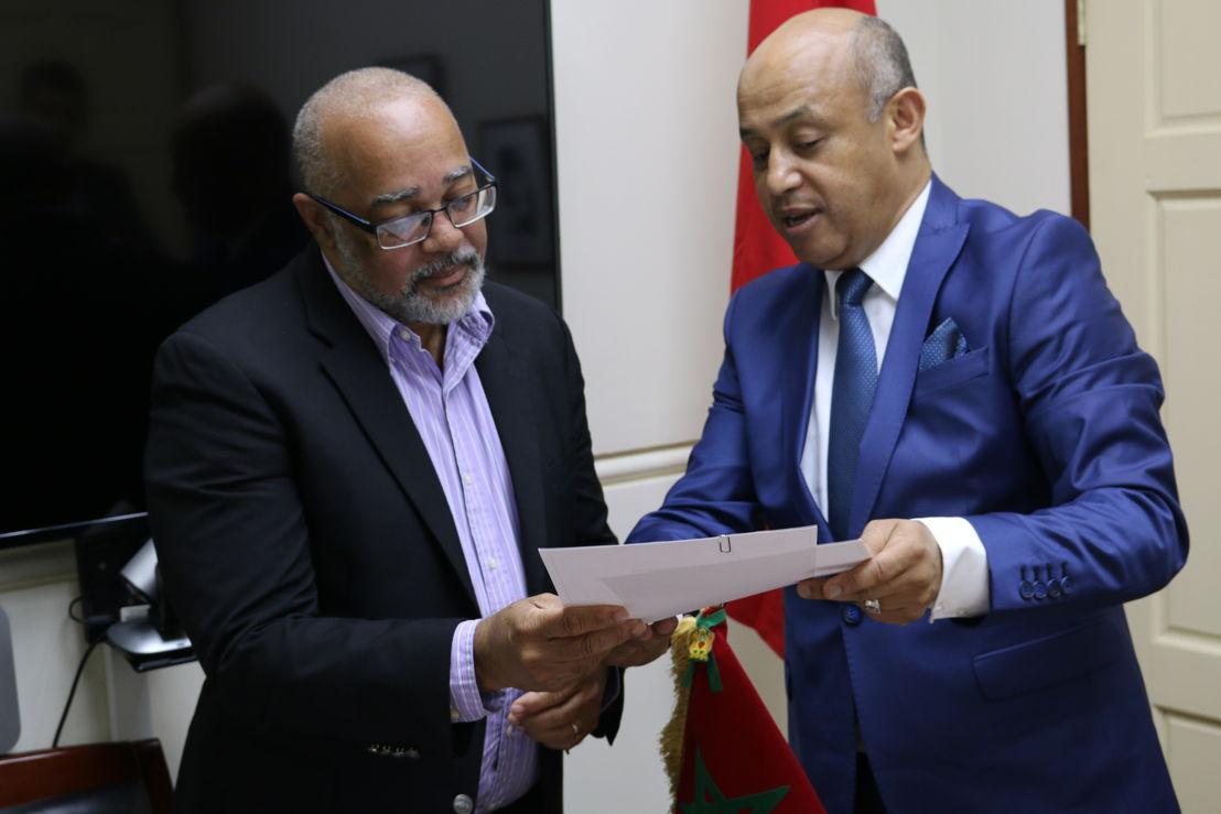 Ambassador of the Kingdom of Morocco, H.E. Abderrahim Kadmiri, presents credentials to OECS Director General, Dr. Didacus Jules.