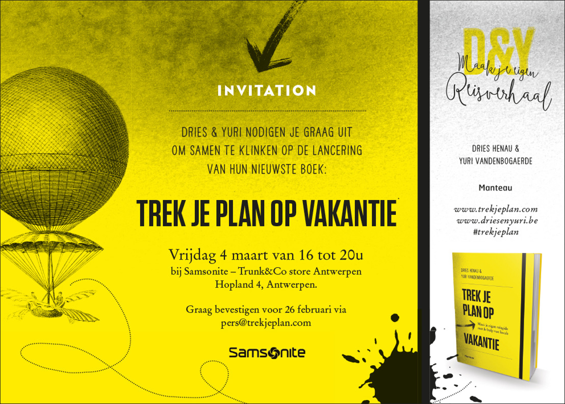 Uitnodiging lancering 'Trek je plan op vakantie' - 4 maart, 16u @ Trunk&Co Store Antwerpen