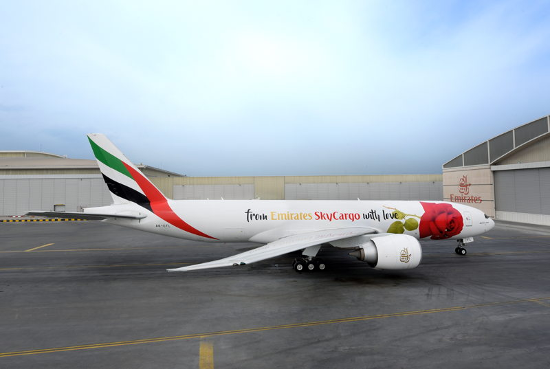 Emirates SkyCargo unveils freighter aircraft with rose decal for Valentine's Day