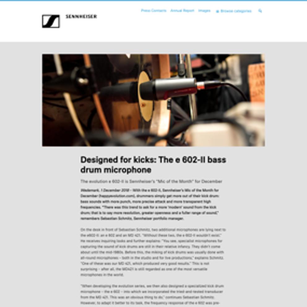 Designed for kicks: The e 602-II bass drum microphone