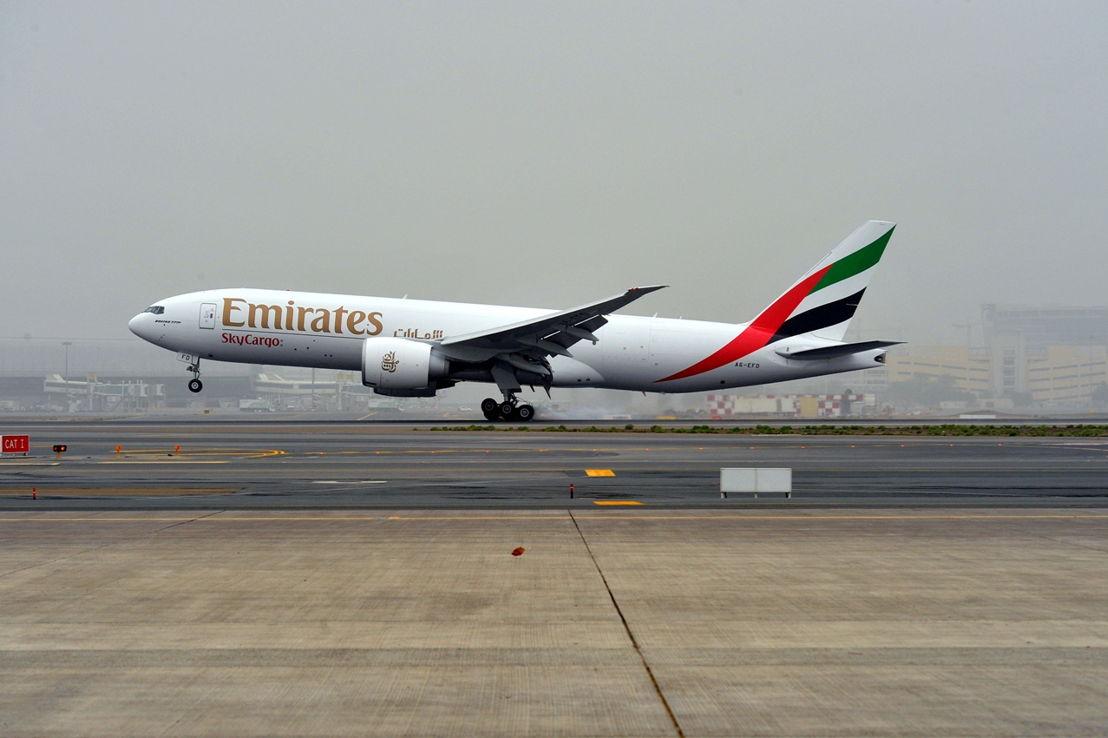 An Emirates SkyCargo Boeing 777F