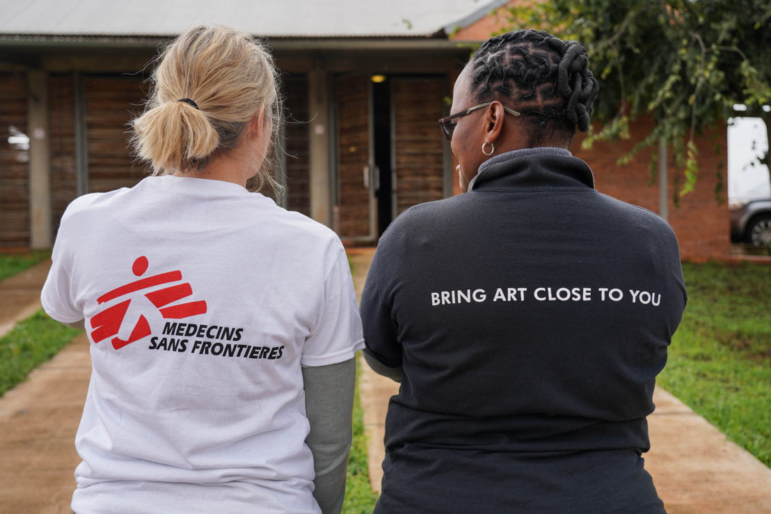 MSF workers standing in front of the TB Ward, Nhlangano Health Centre. In the MSF-built TB ward at Nhlangano Health Centre, severely ill patients and patients who cannot receive treatment at home are treated. Photoghrapher: Fanny Hostettler