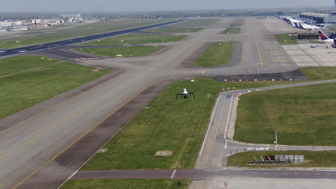 Brussels Airport et skeyes testent un drone de sécurité ainsi qu'un système de détection des drones