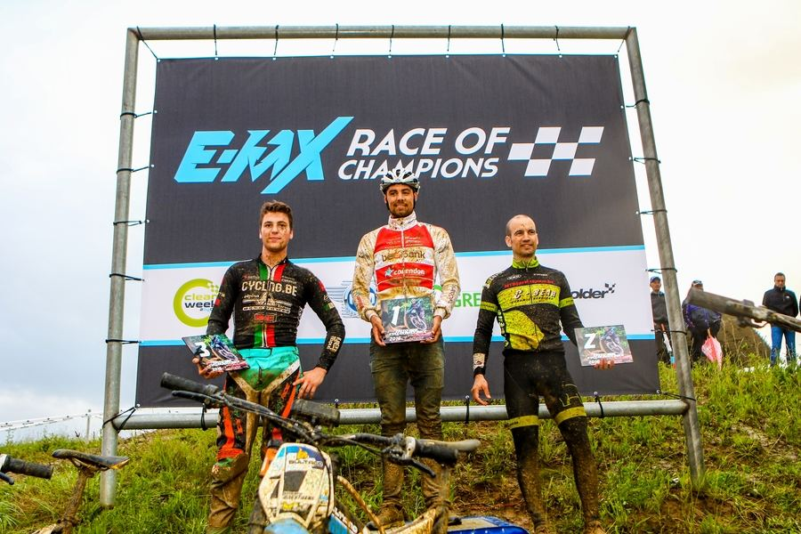 EMX Race of Champions podium from left to right: Jimmy Tielens, Vincent Baestaens, Stijn Hofman