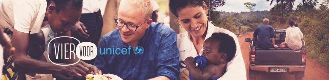 VIER VOOR UNICEF : Joke Devynck en Sven de Leijer voor kinderrechten.
