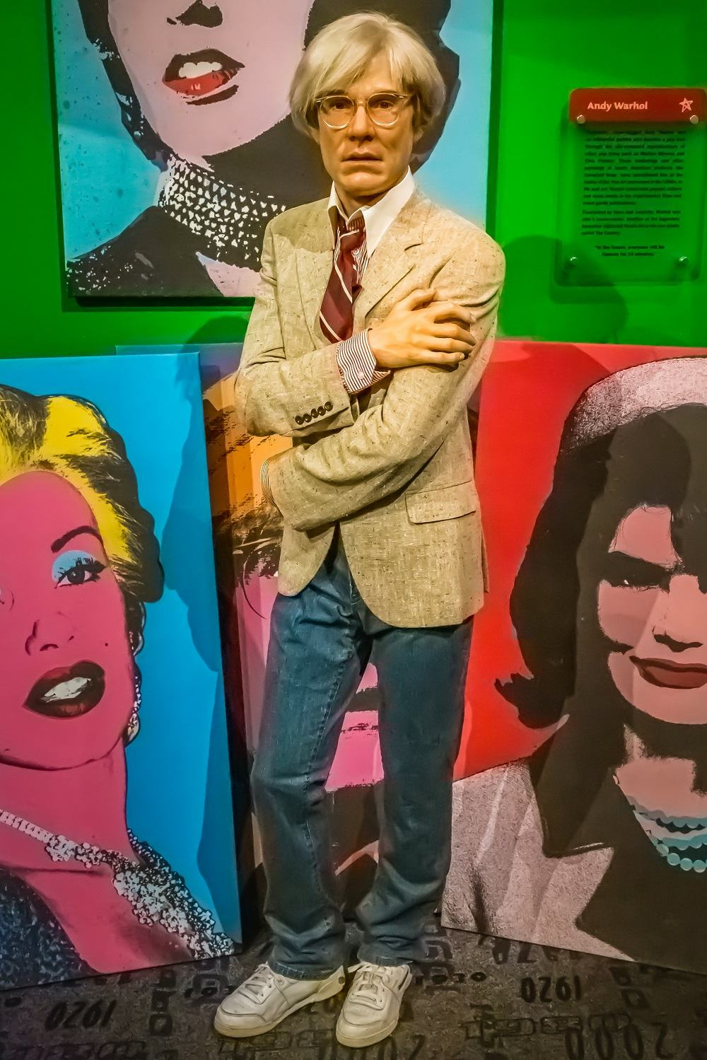 NEW YORK CITY, USA – JULE 13, 2013: Andy Warhol wax figure at Madame Tussauds wax museum in Times Square in New York.