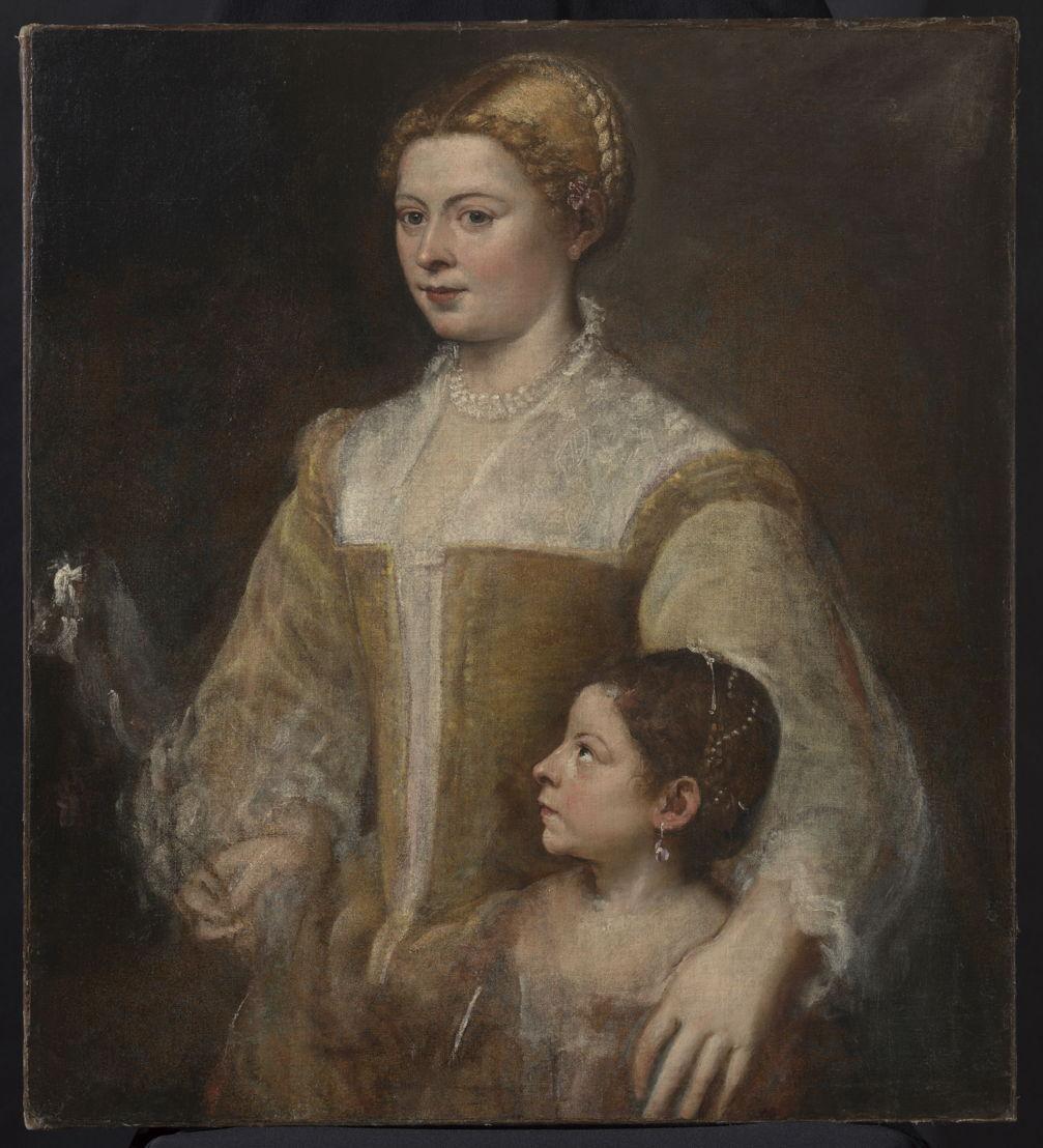Titiaan (Tiziano Vecellio), Portret van een dame en haar dochter, ca. 1550, olieverf op doek, 88.3 x 80.6 cm, particuliere verzameling, vanaf 21 november 2017 in langdurig bruikleen in het Rubenshuis Antwerpen, foto KIK-IRPA