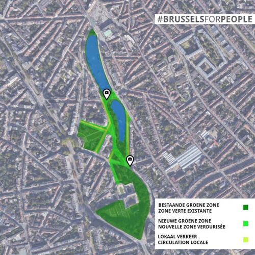 one.brussels wants a park that connects Place Flagey with Bois de la Cambre