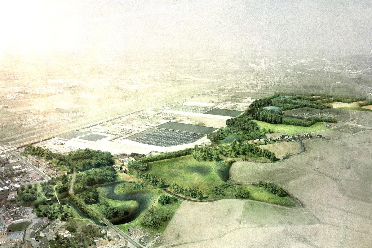 Toekomstbeeld van de bedrijvenzone Laekebeek en omgeving